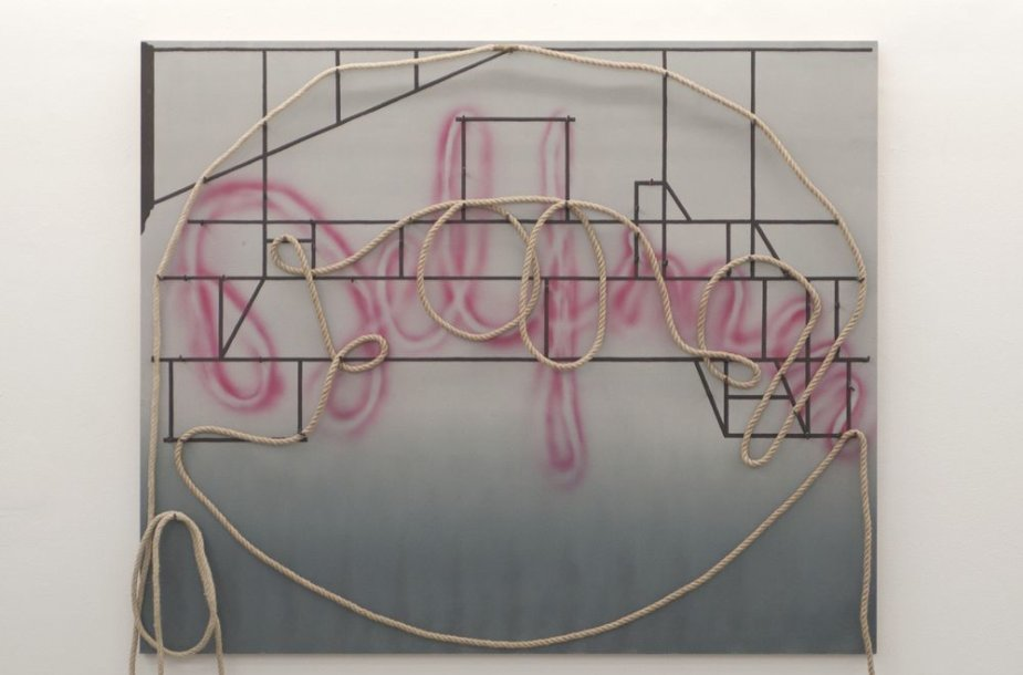 Marie Søndergaard Lolk, 2011. Untitled. Acrylic, rope, and nails on board.