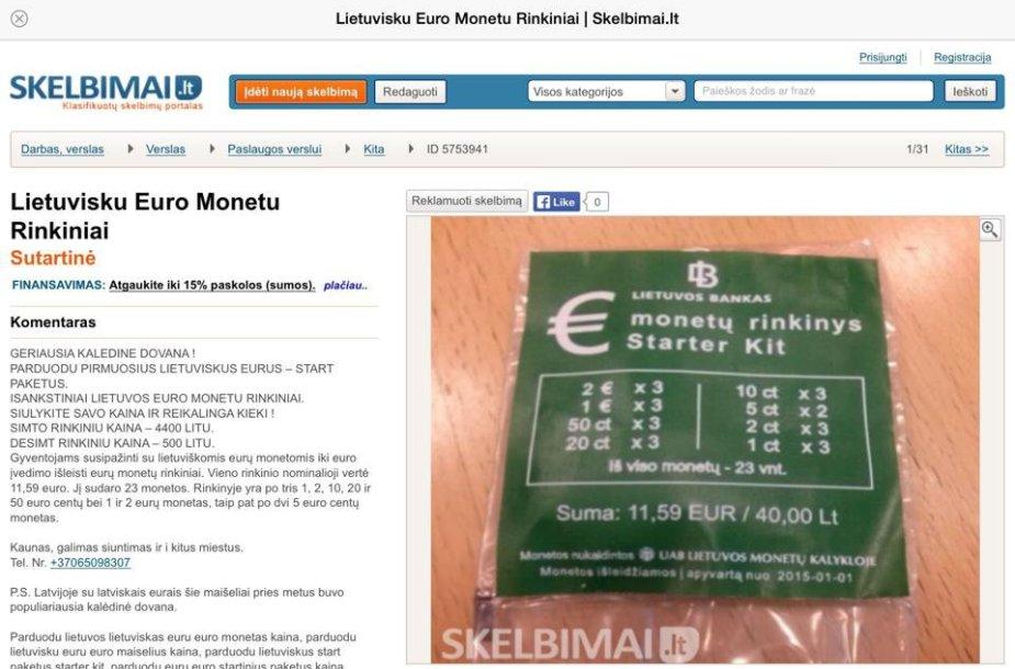 Skelbimas apie lietuviškų euro monetų rinkinius