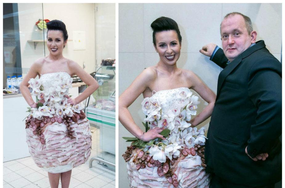 Modestas Vasiliauskas sukūrė suknelę iš mėsos