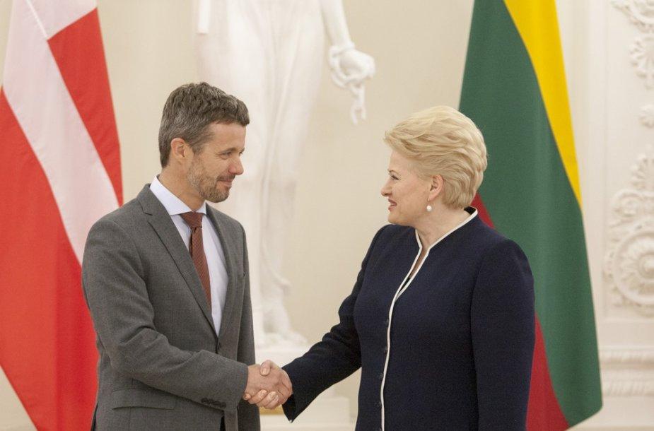 Danijos princas Frederikas ir Lietuvos prezidentė Dalia Grybauskaitė