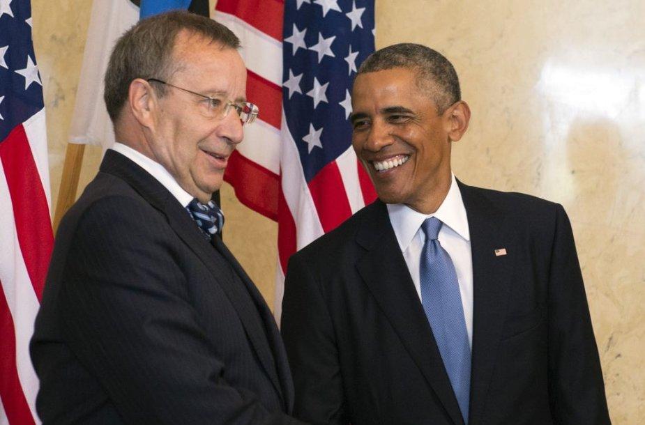 Estijos prezidentas Toomas Hendrickas Ilvesas ir JAV prezidentas Barackas Obama