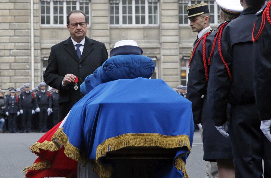 Prancūzijos prezidentas Francois Hollande'as gedulo ceremonijoje