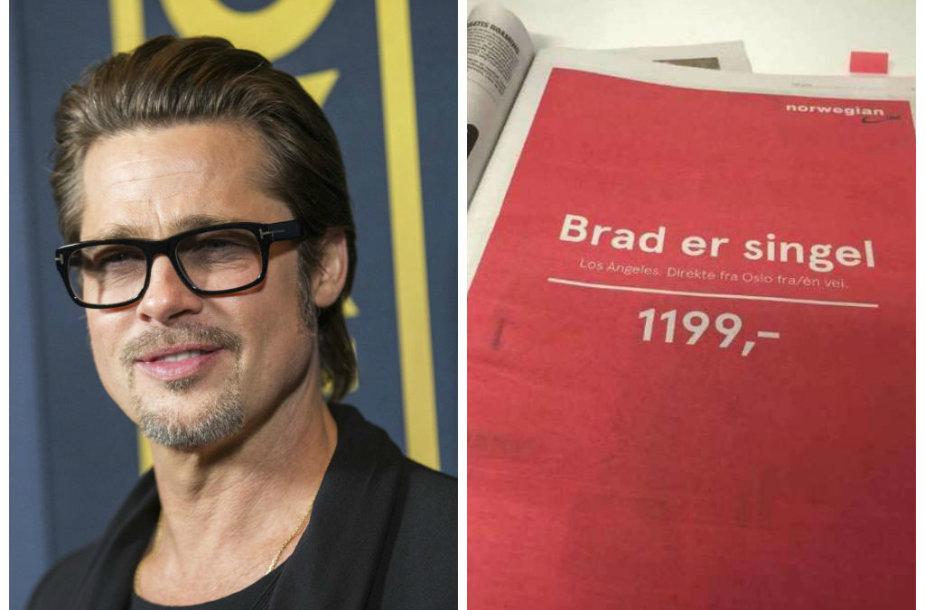 Norvegijos aviakompanija suskubo pasipelnyti iš Brado Pitto skyrybų reklamuodamos skrydžius į Los Andželą