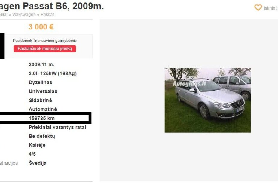"""Suklastotos ridos """"Volkswagen"""" skelbimų portale"""