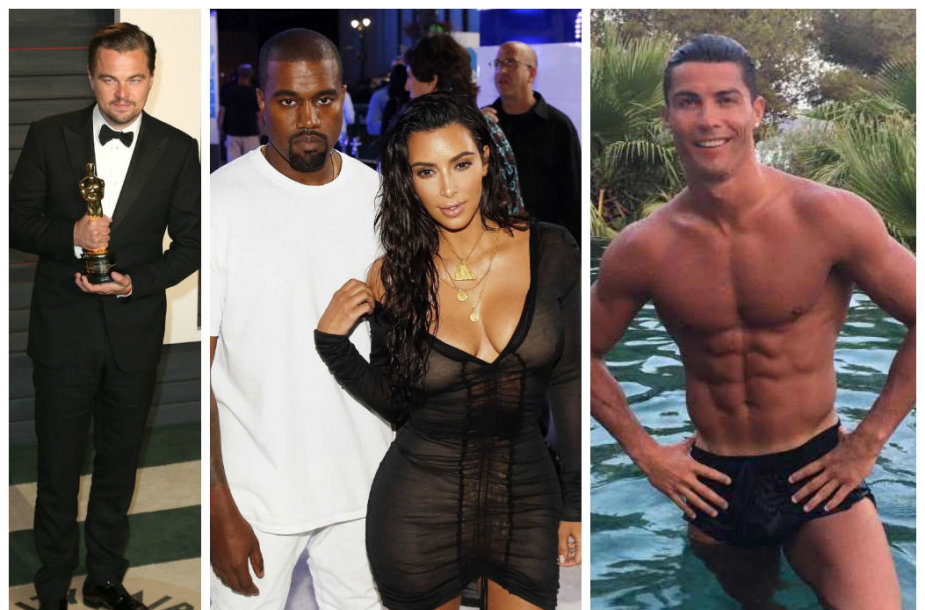 Leonardo DiCaprio, Kim Kardashian ir Cristiano Ronaldo