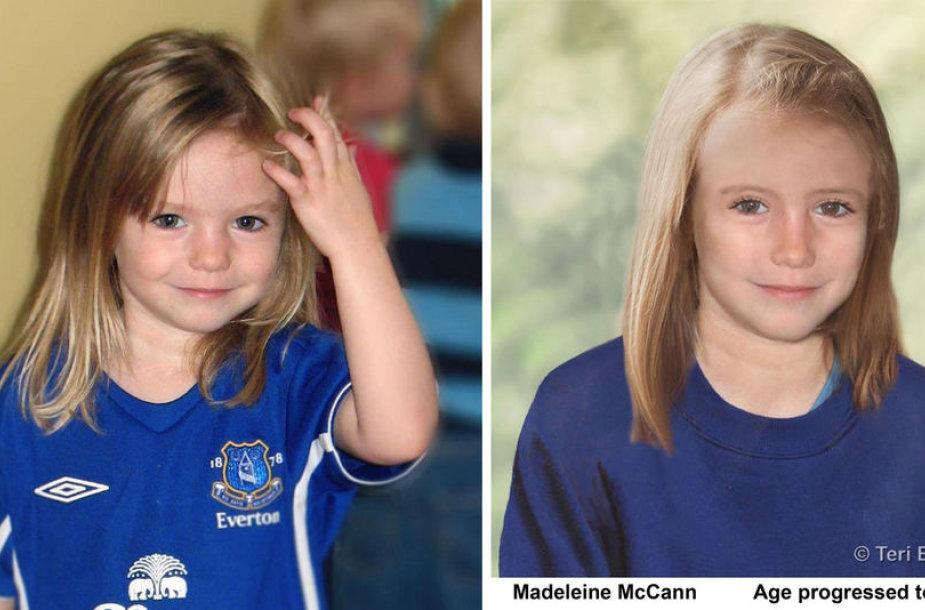 Kairėje – Madeleine McCann 3-ejų metų, o dešinėje – kompiuteriu sudarytas atvaizdas, kaip ji turėtų atrodyti dabar, būdama 9-erių metų