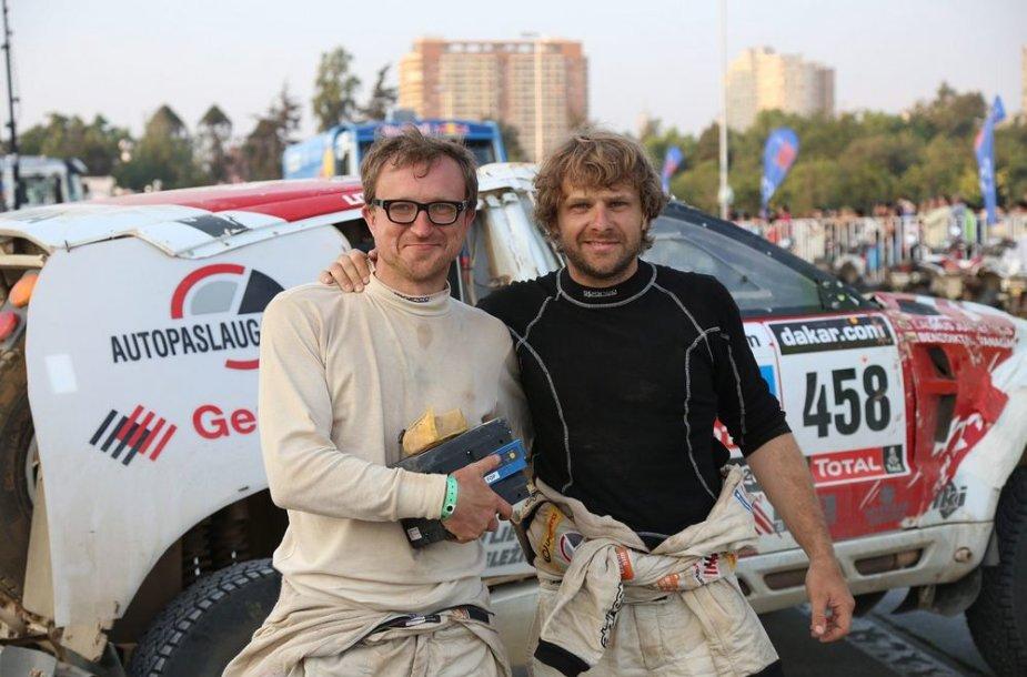 Benediktas Vanagas ir Saulius Jurgelėnas Dakaro ralio finiše