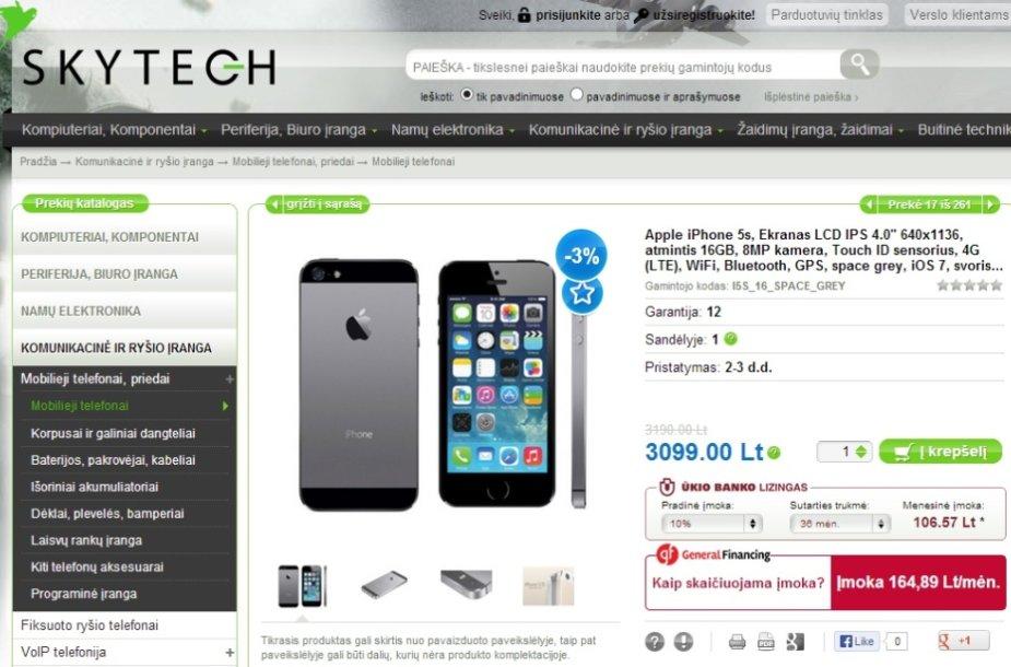 """Interneto parduotuvėse jau galima įsigyti naująjį """"iPhone 5S"""", nors oficialiai prekyba juo Lietuvoje turėtų prasidėti tik spalio 25-ąją"""