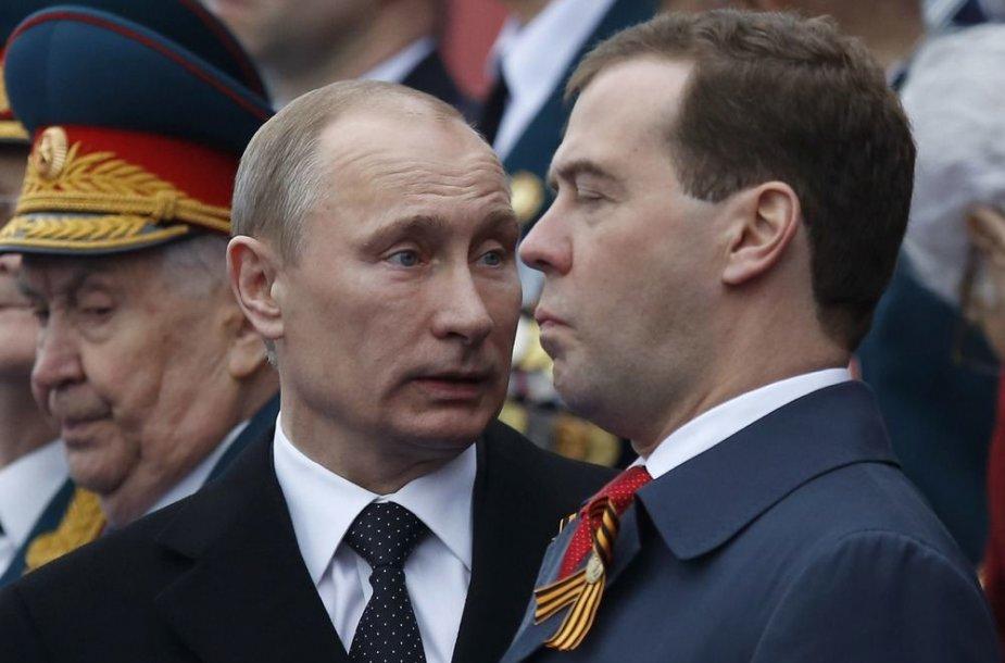 Rusijos prezidentas Vladimiras Putinas ir ministras pirmininkas Dmitrijus Medvedevas