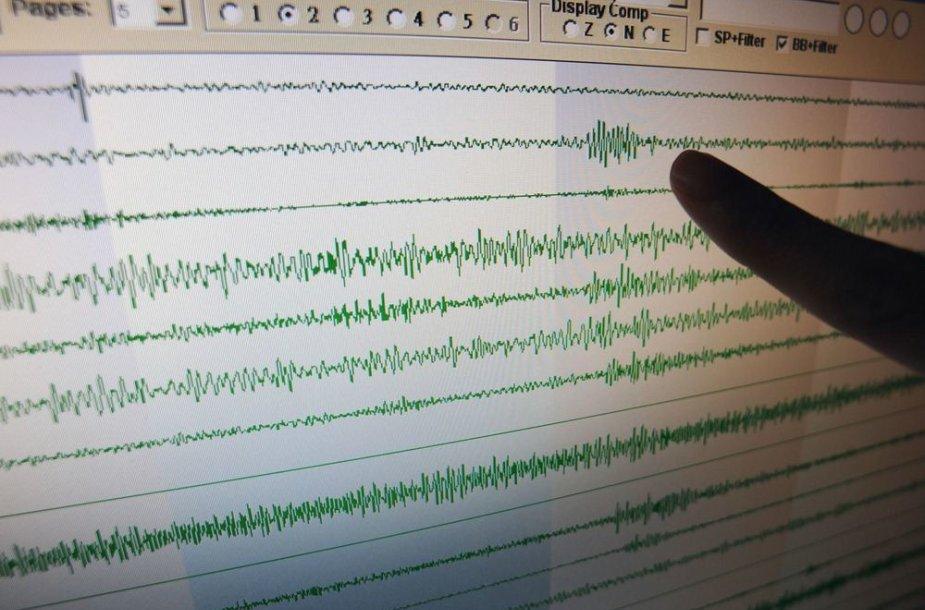 Taivano seismologijos centre rodoma diagrama, kurioje matyti seisminis aktyvumas per Šiaurės Korėjos branduolinį bandymą.