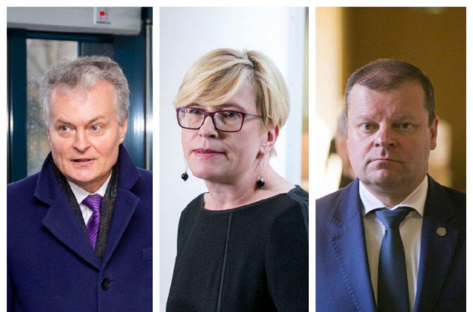 Reitingų viršūnėse esantys kandidatai į prezidentus: Gitanas Nausėda, Ingrida Šimonytė, Saulius Skvernelis