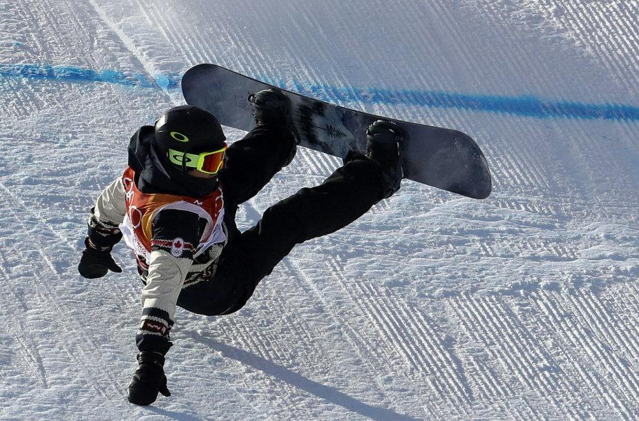 Moterų akrobatinio nusileidimo snieglentėmis varžybose – daugybė kritimų