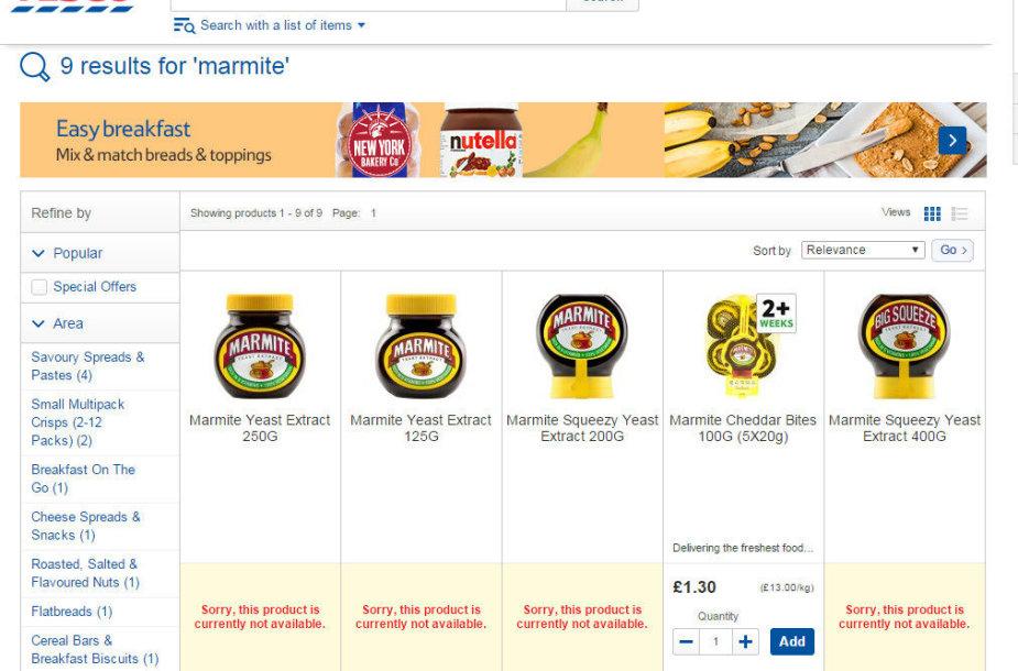 """Elektroninėje """"Tesco"""" parduotuvėje neliko kai kurių """"Unilever"""" gaminamų prekių"""
