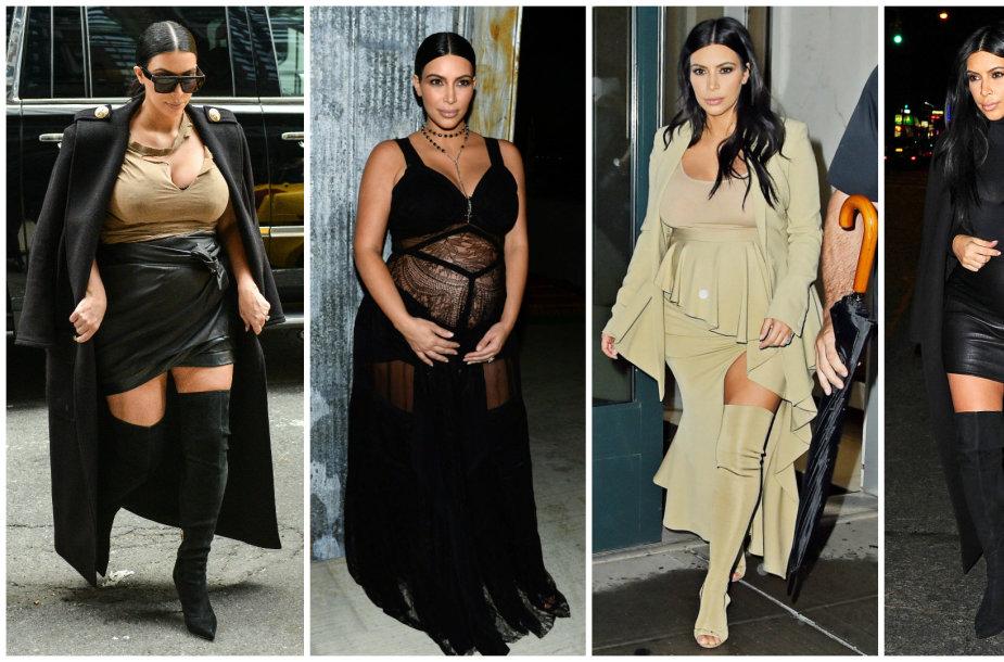 Nėščios Kim Kardashian stilius