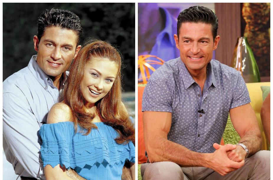 """Fernando Colunga su Aracely Arambula seriale """"Apkabink mane"""" 2000 metais (kairėje) ir 2015 metais"""