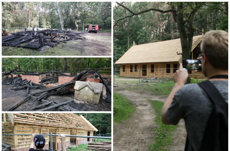 Rumšiškių muziejaus gaisravietė prieš metus ir dabar