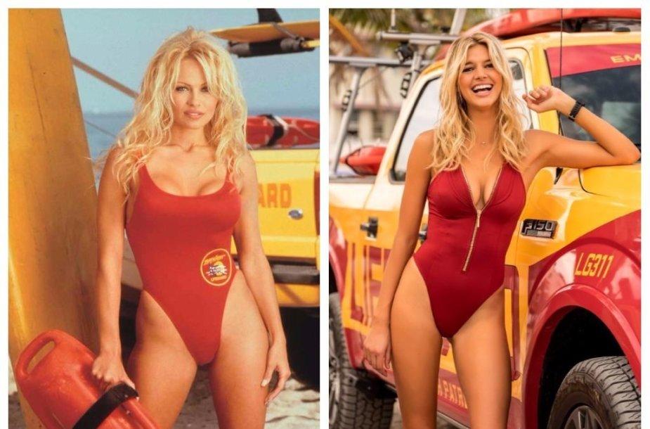 """Pamela Anderson (1992 m.) ir Kelly Rohrbach (2017 m.)  """"Gelbėtojuose"""""""