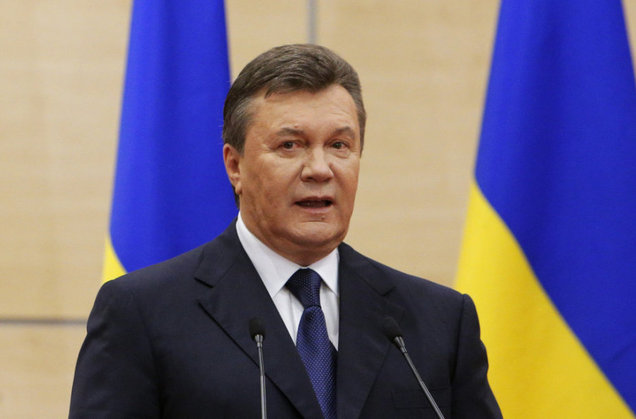 Ousted Ukrainian President Viktor Yanukovich makes a statement during a news conference in the Russian southern city of Rostov-on-Don, March 11, 2014. REUTERS/Maxim Shemetov (RUSSIA - Tags: POLITICS HEADSHOT TPX IMAGES OF THE DAY)
