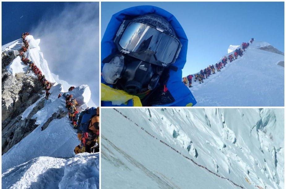 Kairėje ir apačioje - eilės ant Everesto, viršuje dešinėje - Tadas Jeršovas ir alpinistų eilė prie Manaslu