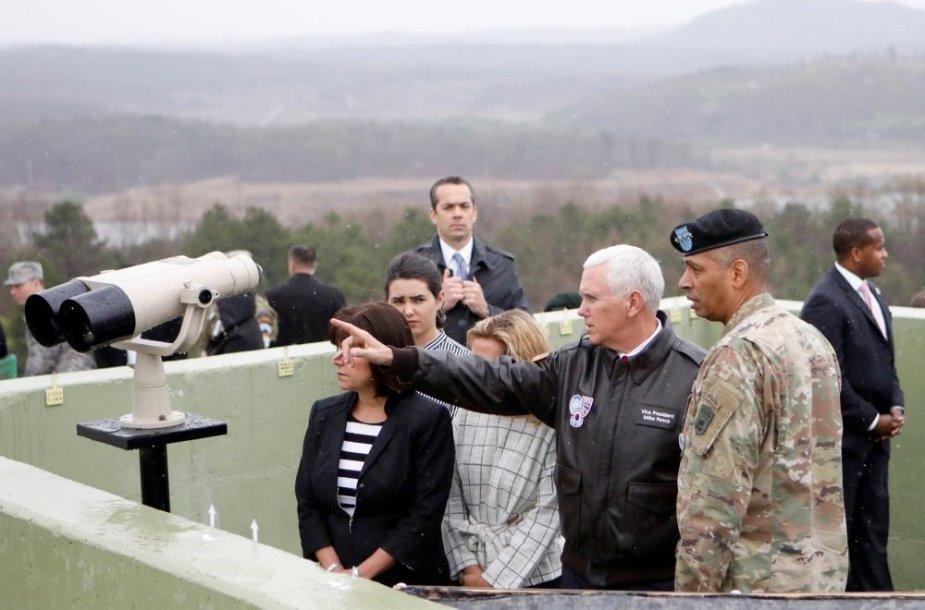 JAV viceprezidentas Mike'as Pence'as lankėsi Pietų Korėjoje