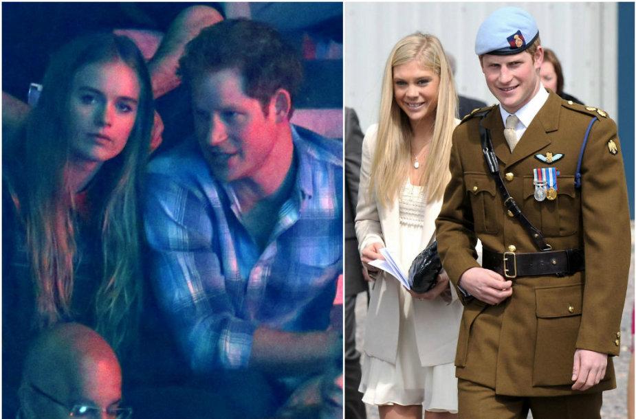 Princas Harry su Cressida Bonas (kairėje, 2014 m.) ir Chelsy Davy (2010 m.)