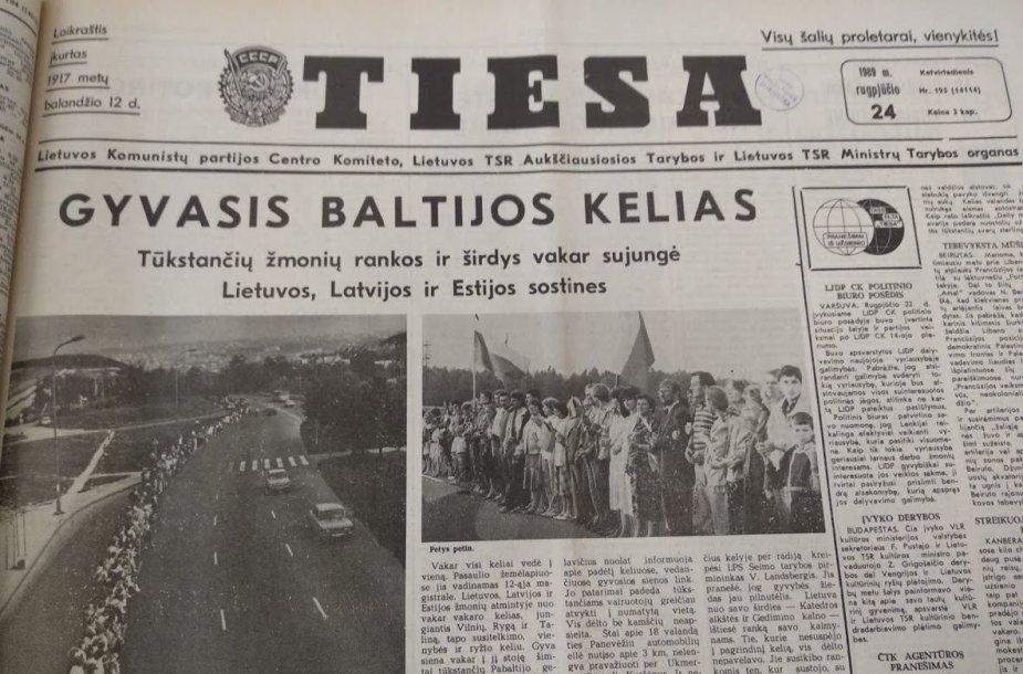 """1989 m. rugpjūčio 24 d. """"Tiesos"""" viršelis"""