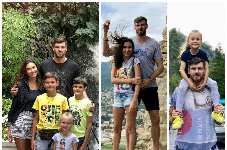 Tatjana ir Kšištofas Lavrinovičius su vaikais