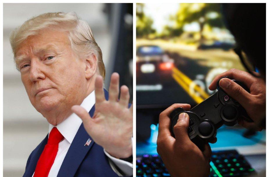 """D.Trumpas nuo šiol pažadais jaunus rinkėjus vilios ir žaidimų platformoje  """"Twitch"""""""