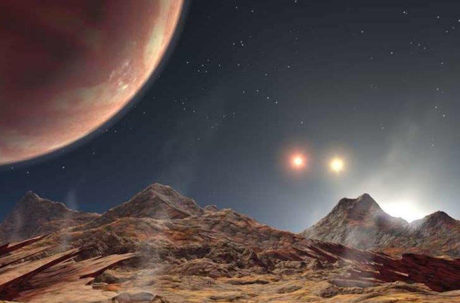Vaizdas iš planetos, esančios šalia trinarės žvaigždių sistemos, menininko akimis