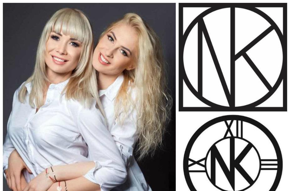"""Natalijos Bunkės ir Kristinos Ivanovos prekės ženklo """"NK seses 2"""" logotipas (apačioje) bei Švedijos parduotuvių tinklo """"Nordiska Kompaniet"""" logotipas (viršuje)"""