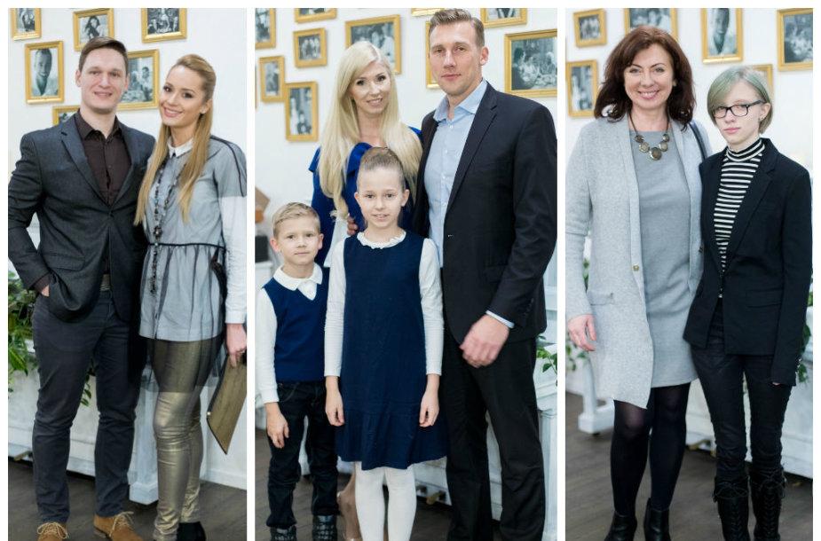 Rūta Elžbieta su sužadėtiniu Mantu Pitkausku, Inga ir Aivaras Stumbrai su vaikais, Daiva Tamošiūnaitė su dukra Adele