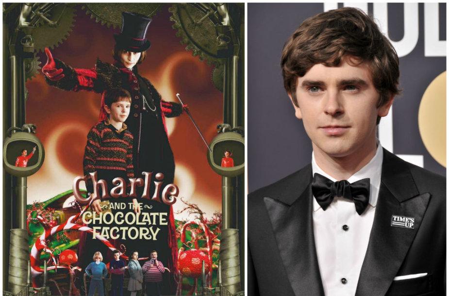 """Freddie Highmore'as filme su Johnny Deppu filme """"Čarlis ir šokolado fabrikas"""" 2005 metais ir 2018 metais """"Auksinių gaublių"""" apdovanojimuose"""