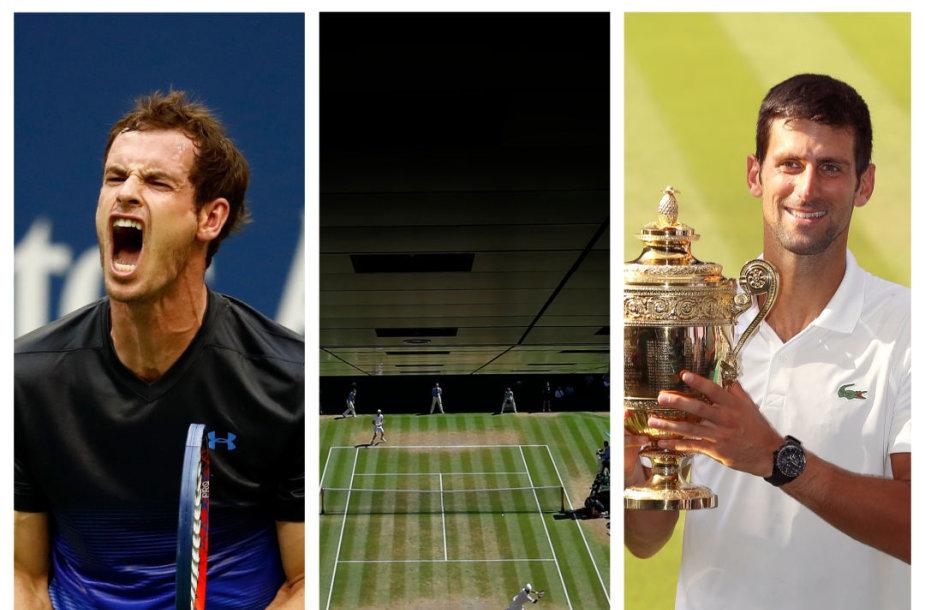 Andy Murray, centrinis Vimbldono kortas ir praėjusiais metais turnyre triumfavęs Novakas Džokovičius