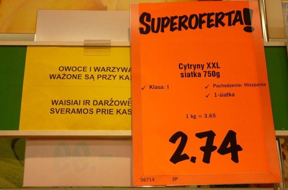 Lietuviškas užrašas prekybos centre Suvalkuose