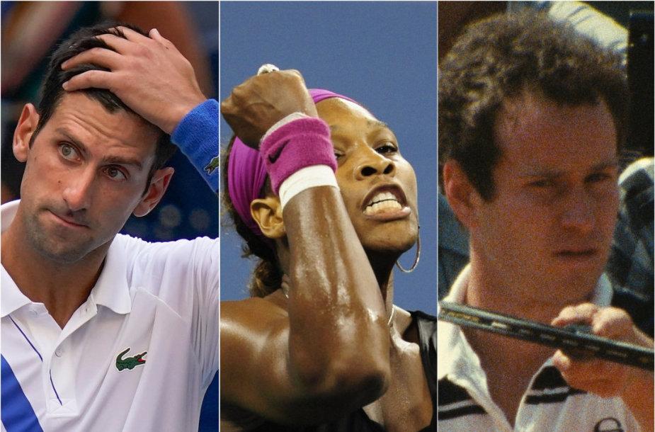 Novakas Džokovičius, Serena Williams Johnas McEnroe teniso korte yra susilaukę griežtų nuobaudų