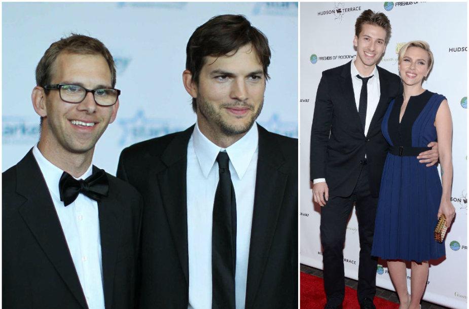 Ashtonas Kutcheris su broliu dvyniu Michaelu ir Scarlett Johansson su broliu dvyniu Hunteriu
