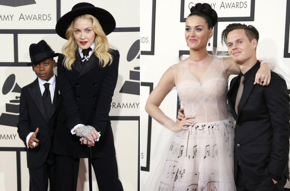 Madonna su įsūniu Davidu ir Katy Perry su broliu Davidu