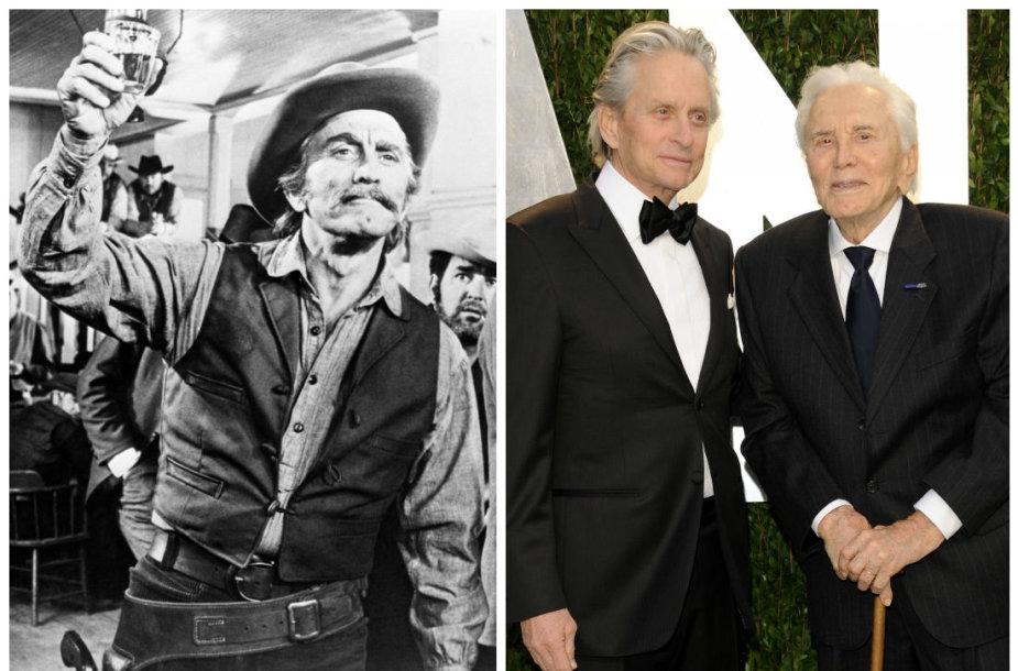 """Kirkas Douglasas 1971-ųjų filme filme """"A Gunfight"""" ir su sūnumi Michaelu 2012 metais """"Oskarų"""" vakarėlyje"""