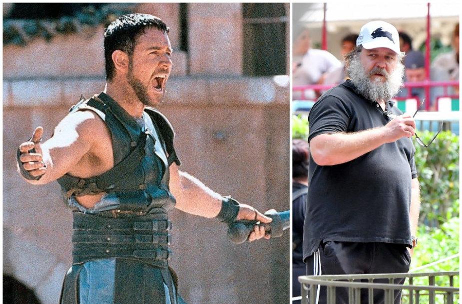 """Russellas Crowe filme """"Gladiatorius"""" (2000 m.) ir 2018 metais"""
