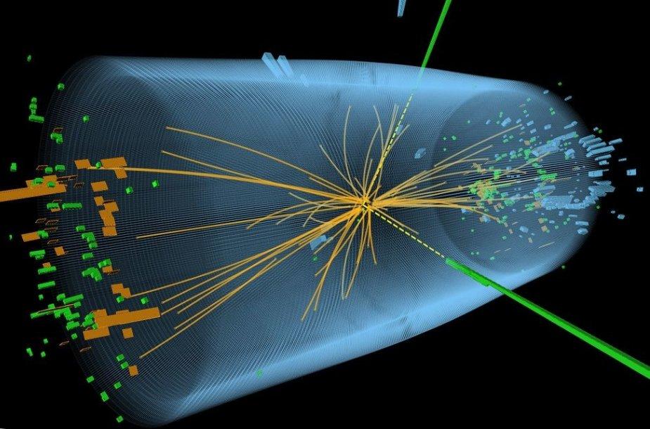 Higgso bozono egzistavimo įrodymų buvo ieškoma Didžiajame hadronų greitintuve stebint beveik šviesos greičiu skriejančių protonų susidūrimus.