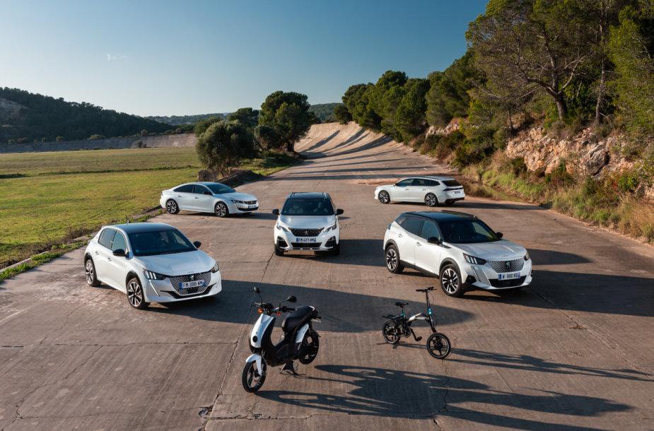"""""""Peugeot"""" elektros pavarą turinčios transporto priemonės"""