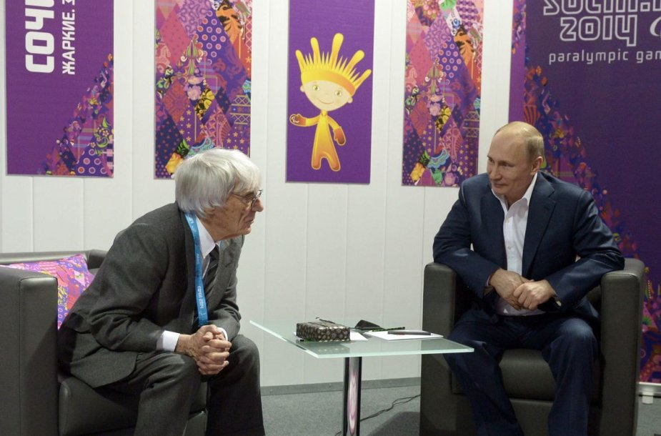 """""""Formulės-1"""" vadovo Bernie Ecclestone'as ir Vladimiras Putinas"""