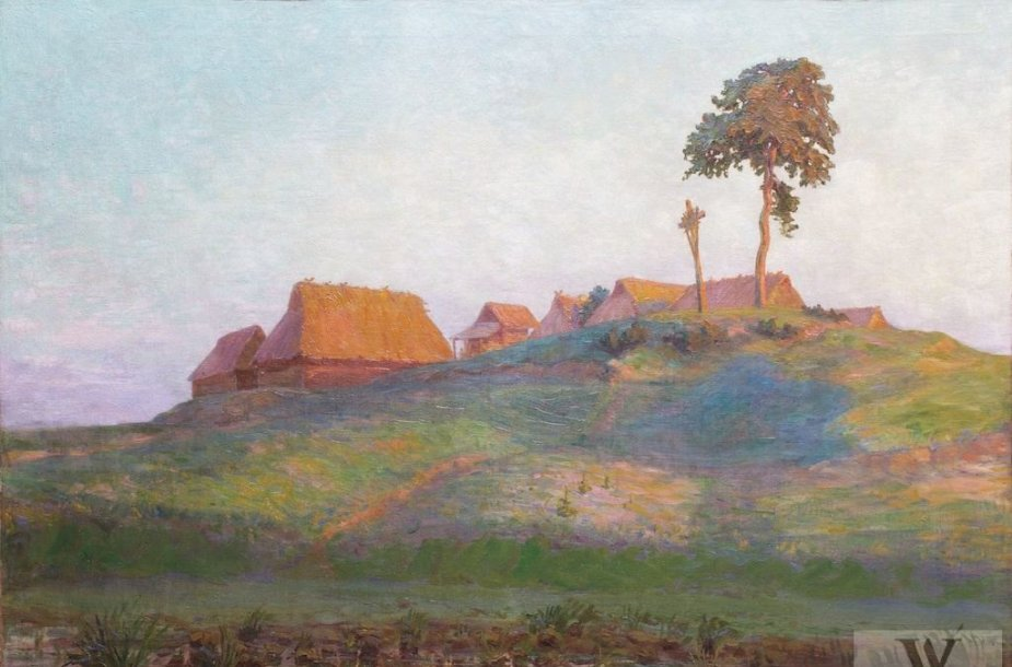 """Antanas Žmuidzinavičius """"Dzūkų kaimelis"""" (1910)"""