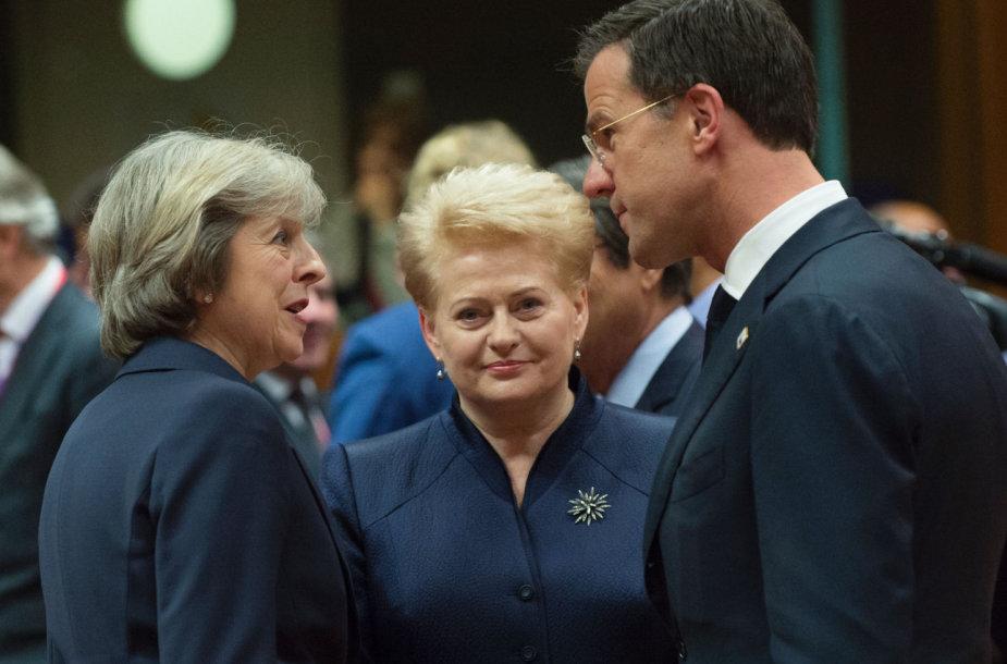 Theresa May, Dalia Grybauskaitė ir Markas Rutte