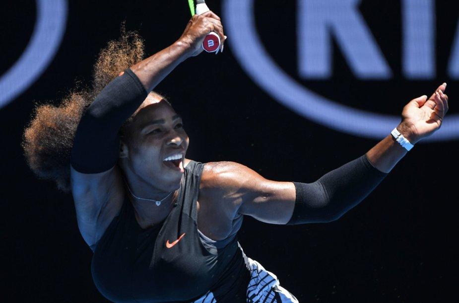 """Serena Williams """"Australian Open"""" ketvirtfinalyje sutriuškino Johanną Kontą"""