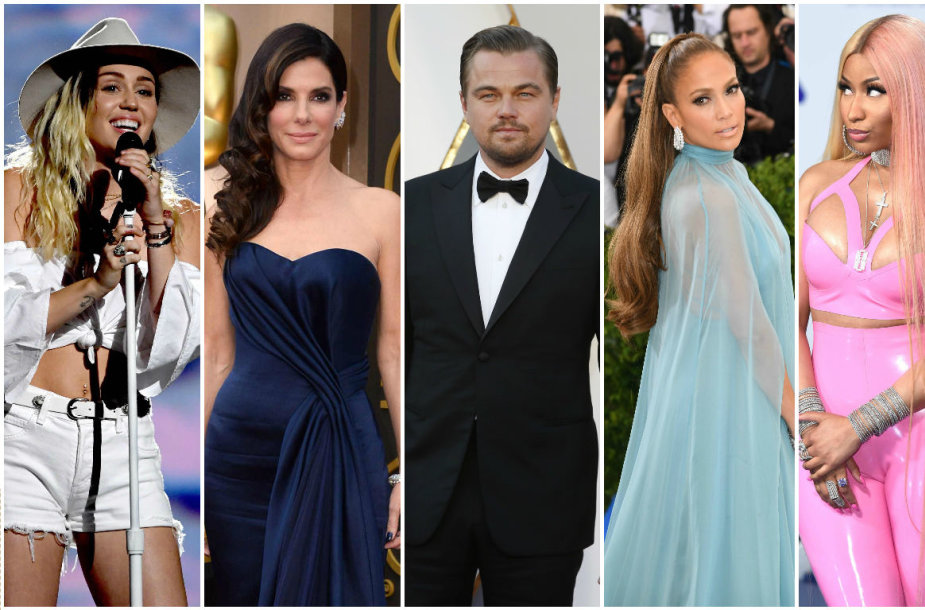 Miley Cyrus, Sandra Bullock, Leonardo DiCaprio, Jennifer Lopez ir Nicki Minaj