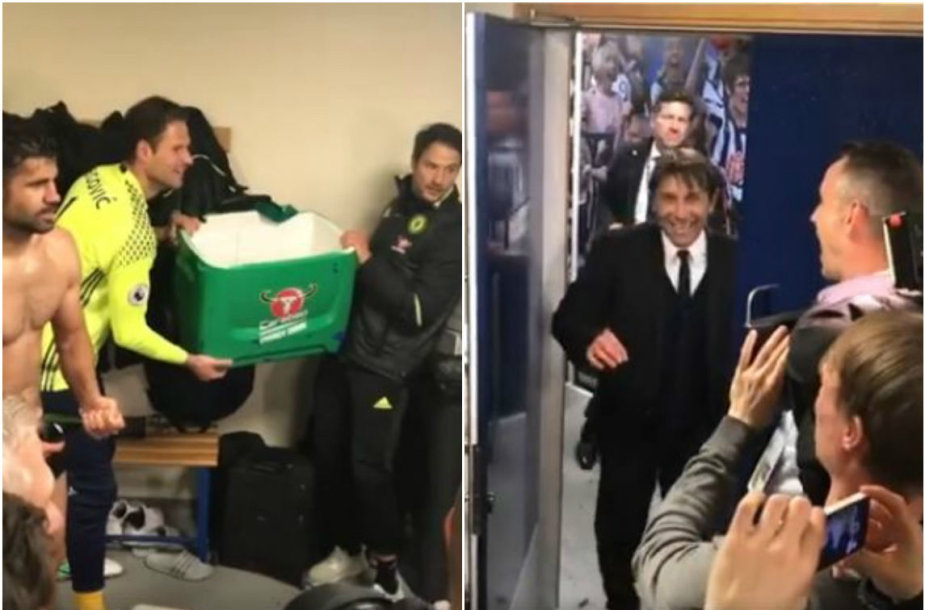 """""""Chelsea"""" žaidėjai patykojo A.Conte ir apliejo trenerį vandeniu"""