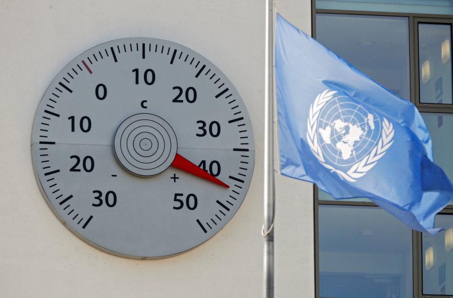 Ant Jungtinių Tautų pastato Bonoje pakabintas didžiulis termometras rodo neįprastai aukštą temperatūrą