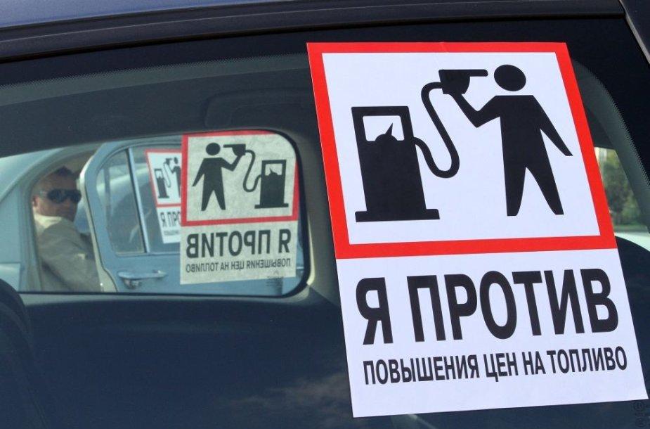 Rusai irgi protestuoja prieš degalų brangimą.