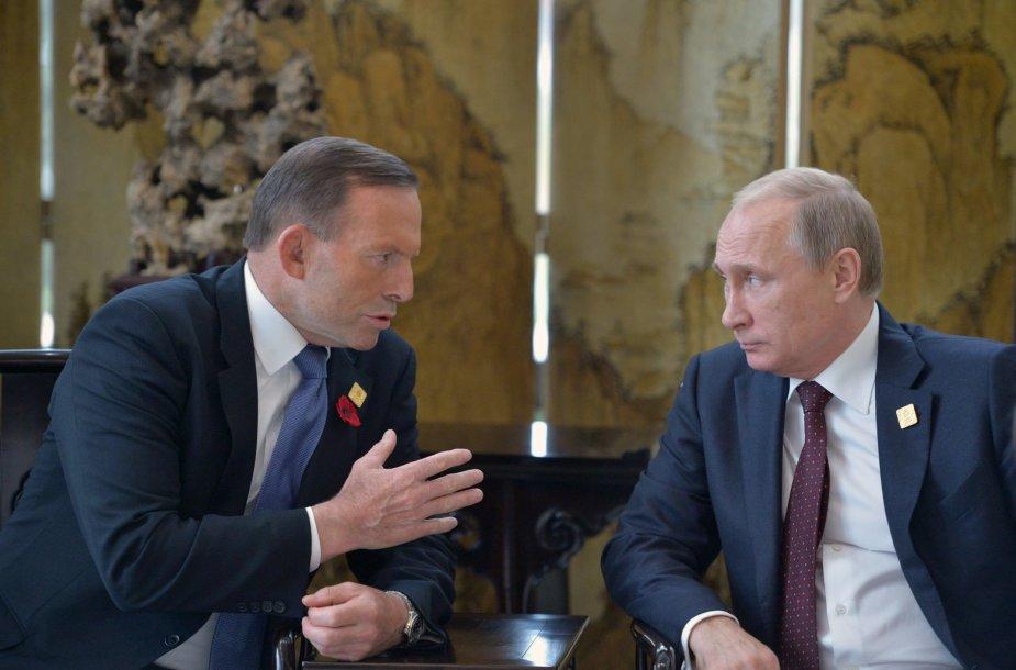 Australijos premjeras Tony Abbottas ir Rusijos prezidentas Vladimiras Putinas